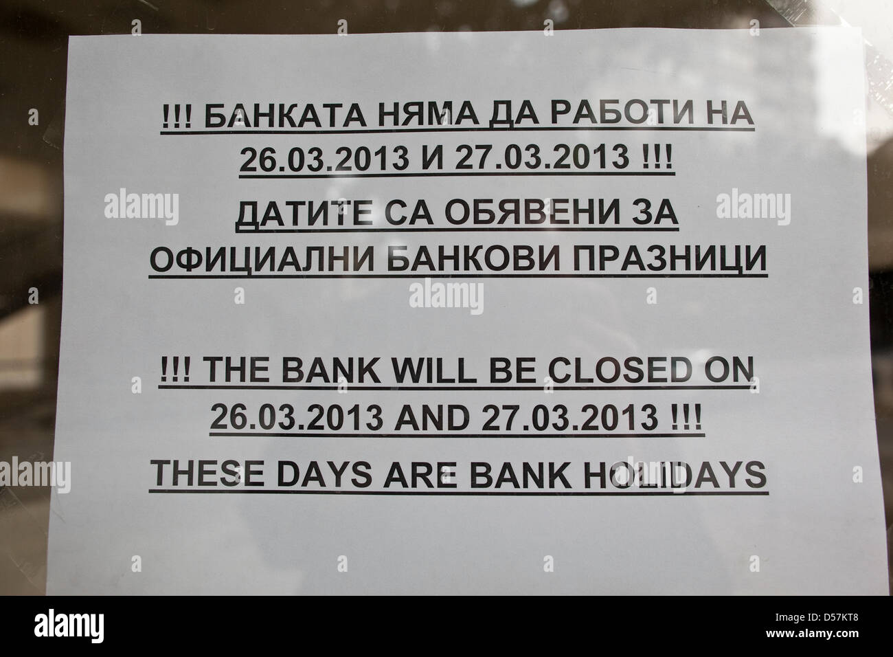 Nicosia, Cyprus. 26th March, 2013.  Sign shows that the bank closures will remain until Thursday 28th March in Nicosia, - Stock Image