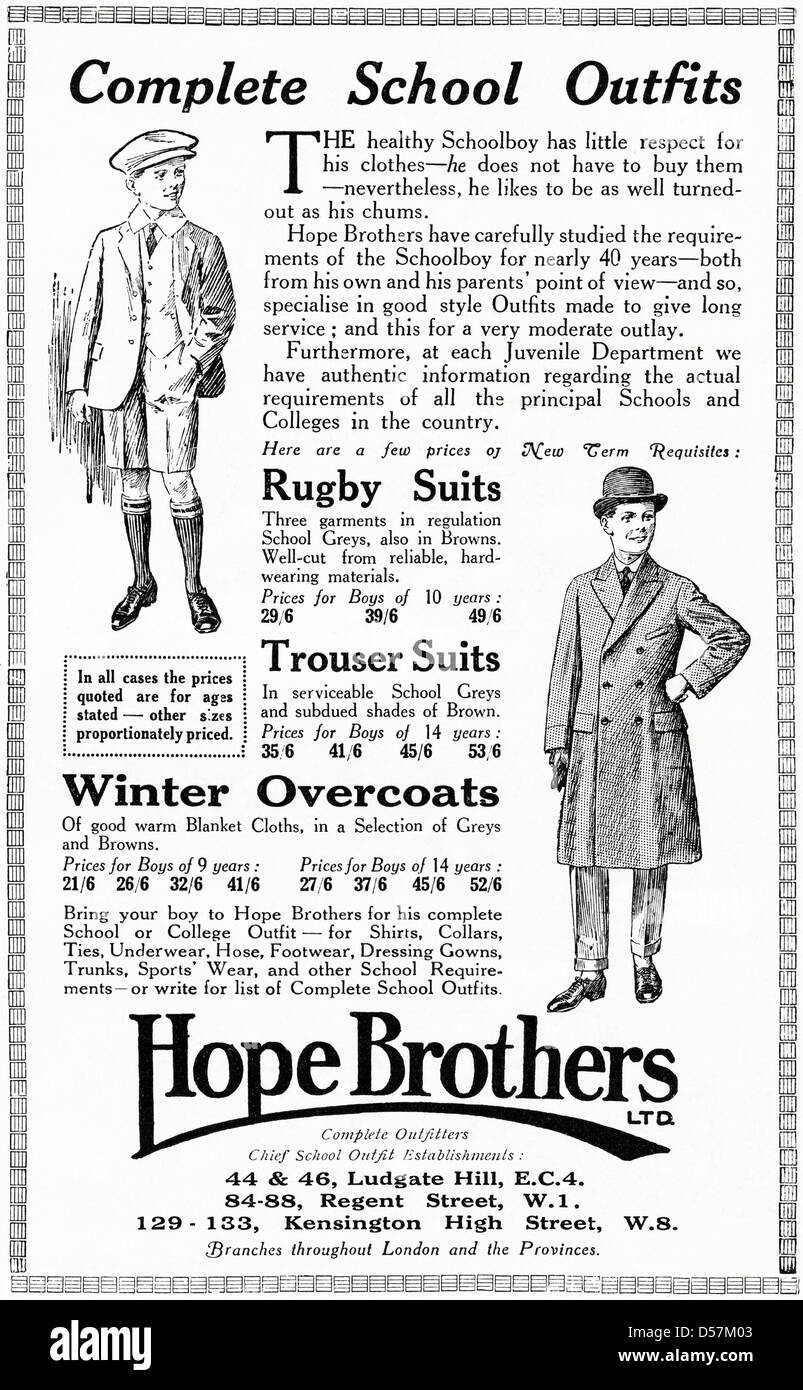 Advert advertising School Outfits for boys by Hope Brothers. Original 1920s vintage advertisement print from English - Stock Image