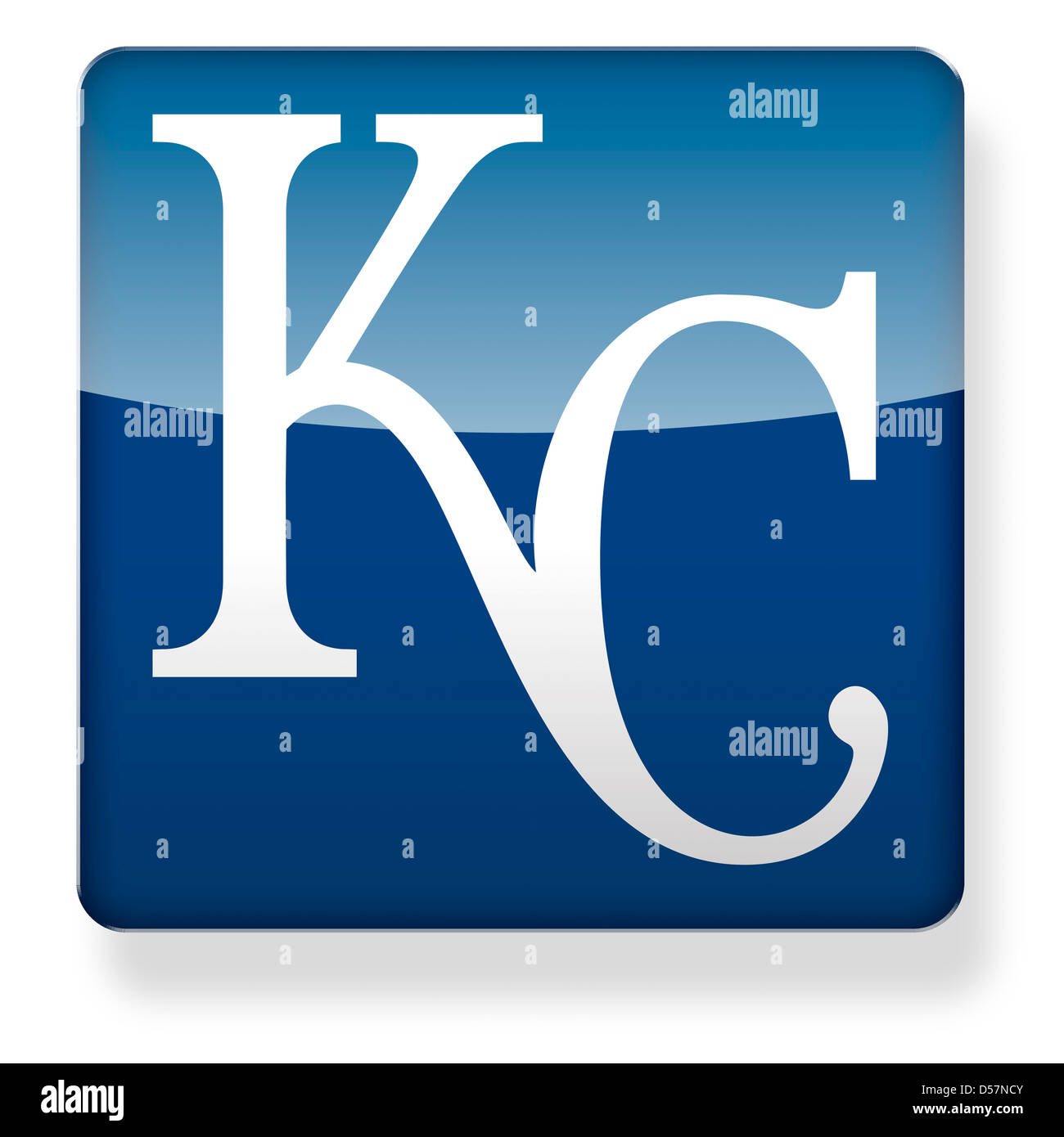 Kansas City Royals baseball cap logo as an app icon. Clipping path included. - Stock Image