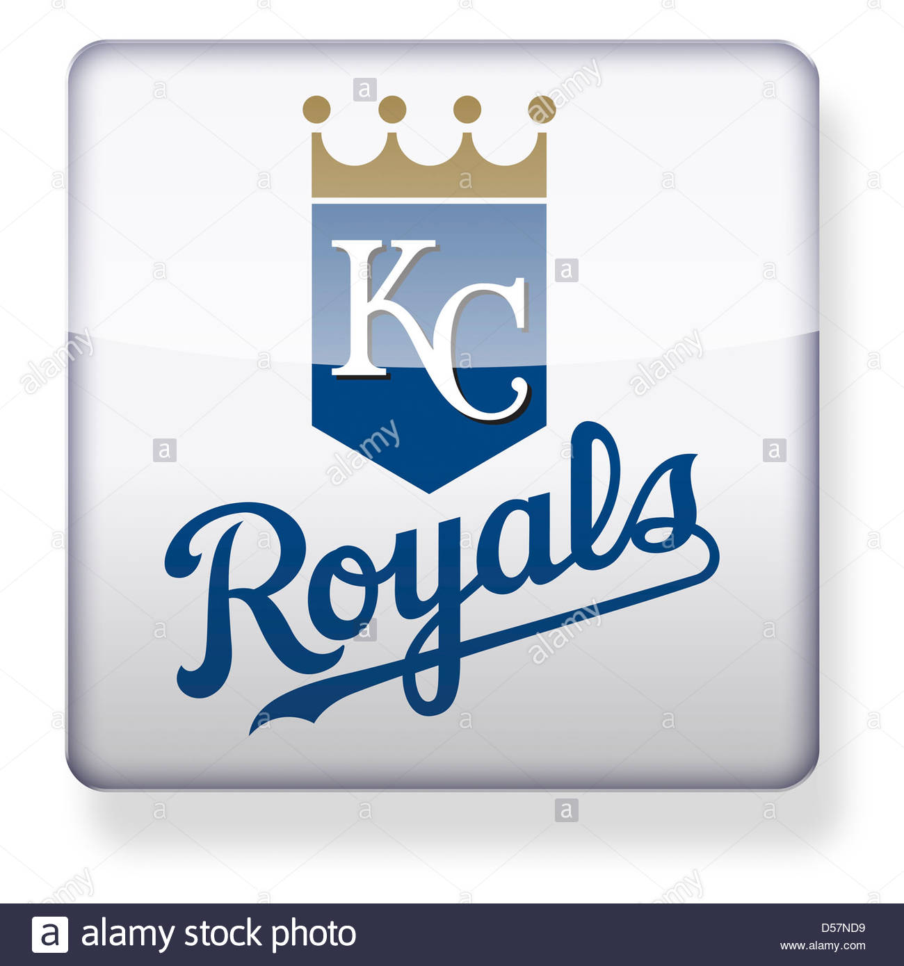 Kansas City Royals logo as an app icon. Clipping path included. - Stock Image