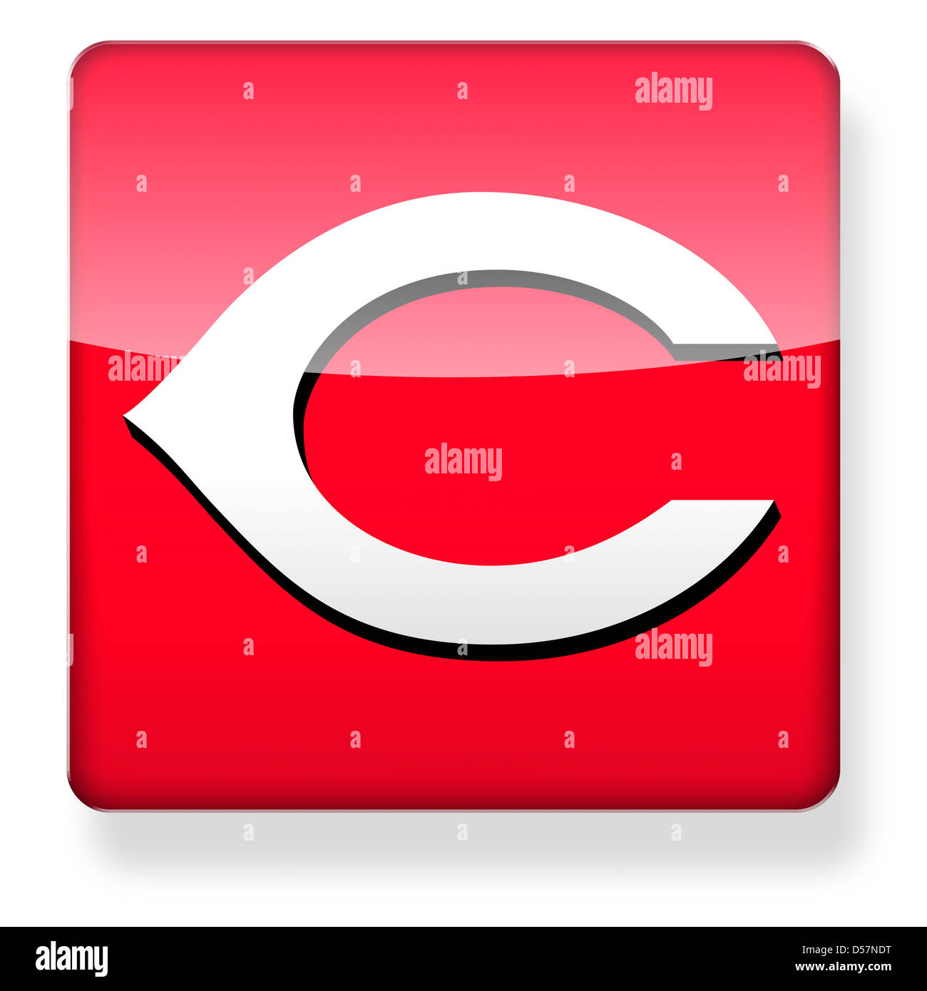 Cincinnati Reds baseball cap logo as an app icon. Clipping path included. - Stock Image