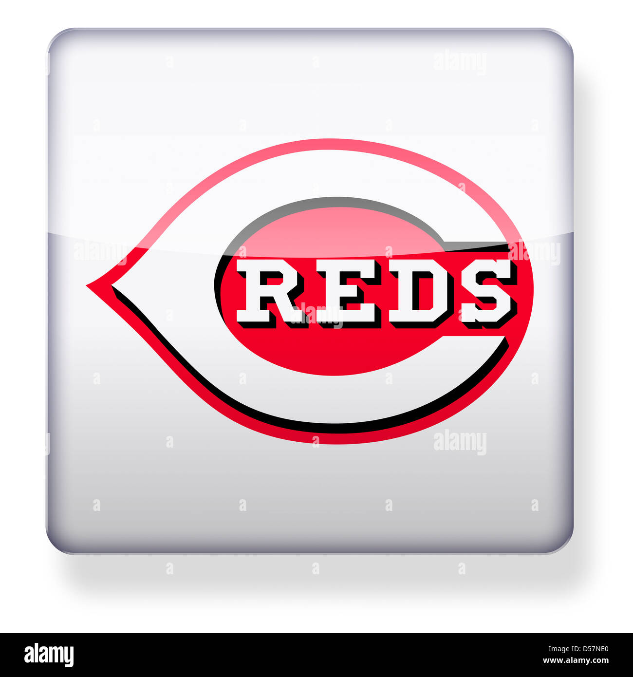Cincinnati Reds logo as an app icon. Clipping path included. - Stock Image