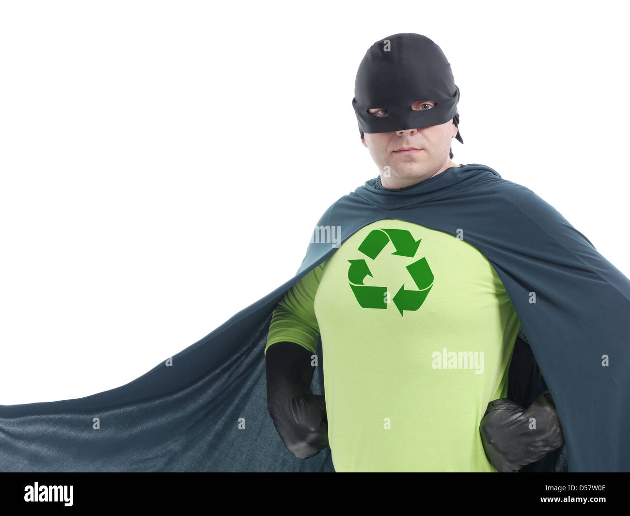 Eco superhero with green recycle arrow symbol on chest posing confidently over white background - recycle concept - Stock Image