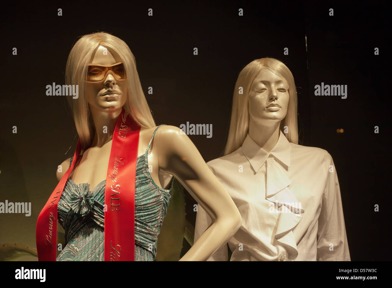 Poznan, Poland, mannequins advertise for luxurious ladies fashion - Stock Image