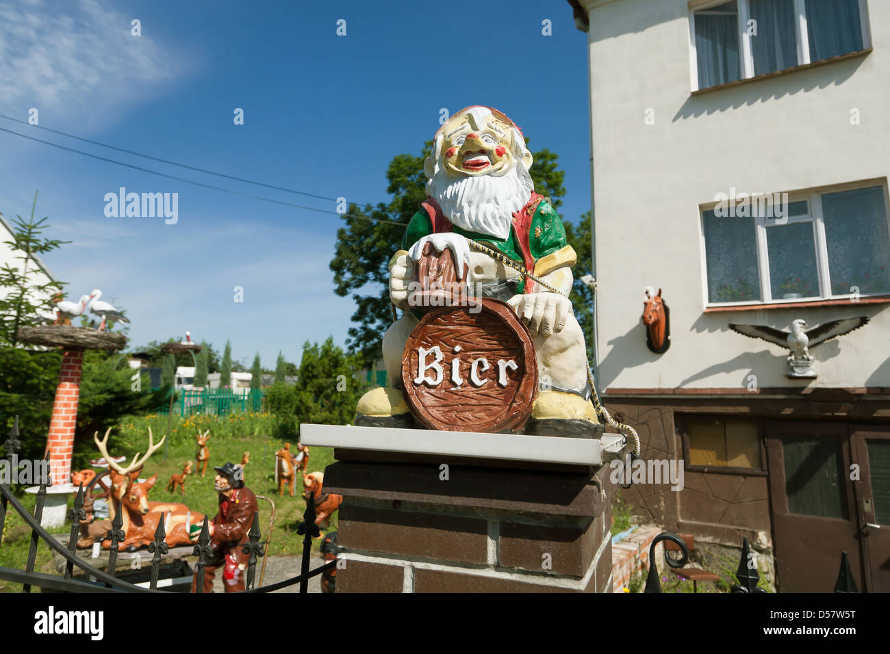 Wroclaw, Poland, German-sounding garden gnome in front of a house - Stock Image