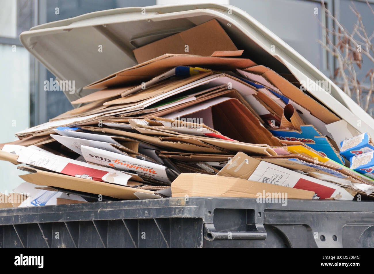 Garbage bin, trash can, overfilled with cardboard packaging - Stock Image