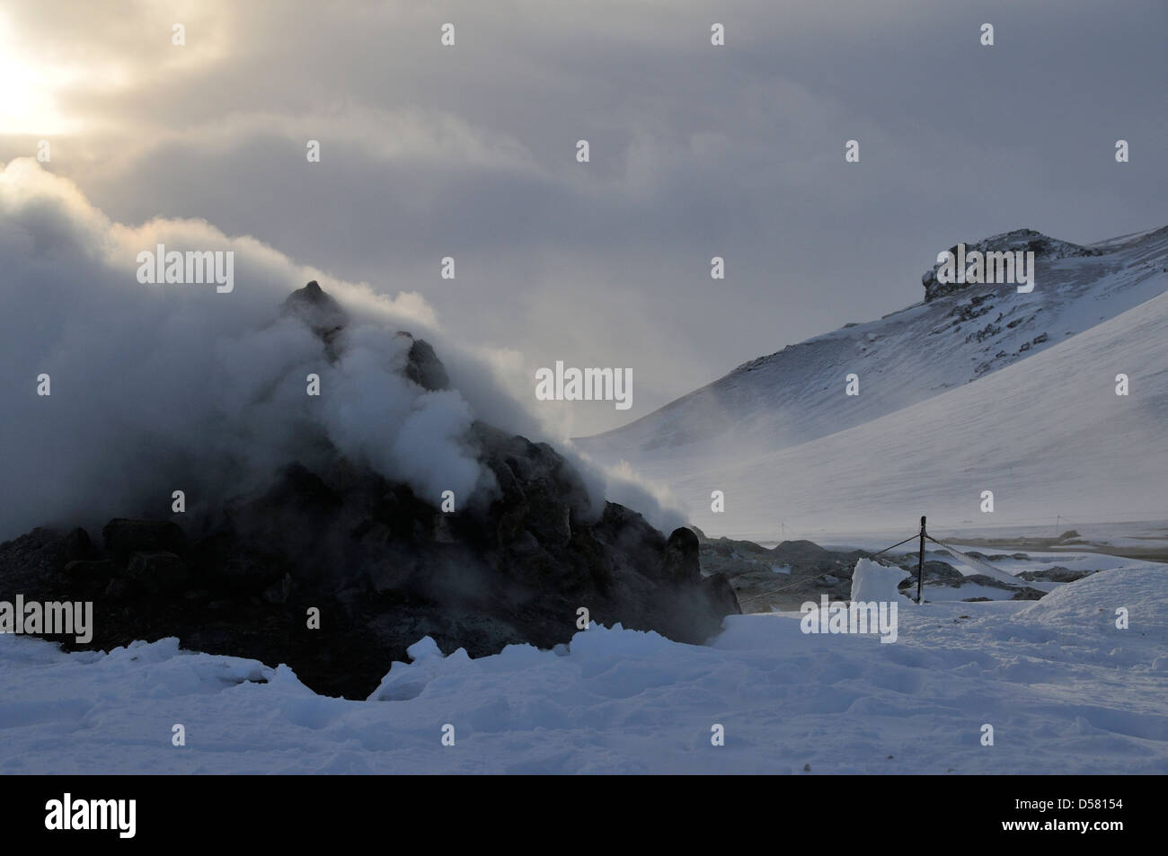 Hverir volcanic steam vent in Northern Iceland in winter - Stock Image