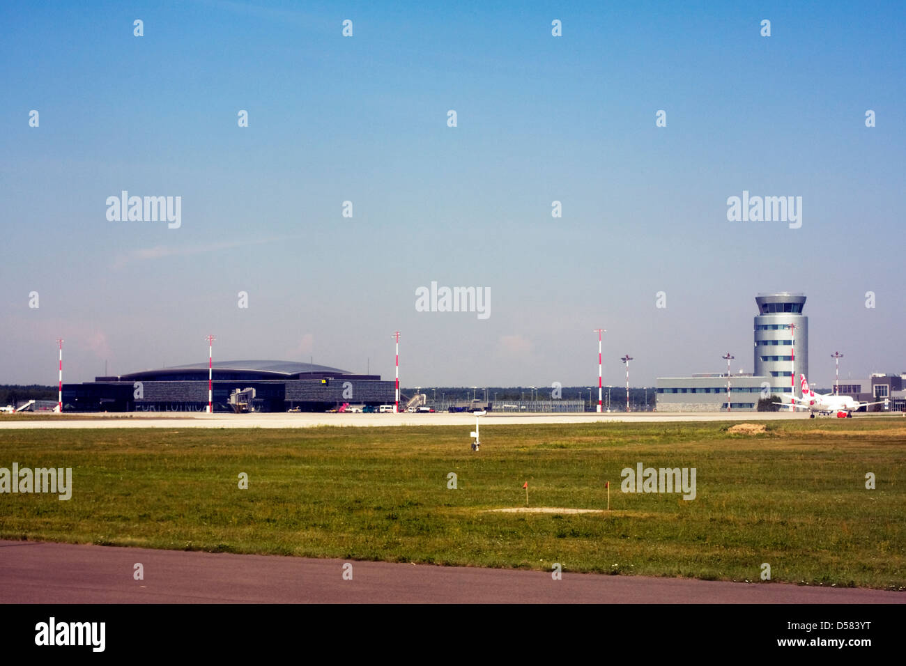 Terminal and control tower at Rzeszow Jasionka Airport, Rzeszow, PolandStock Photo