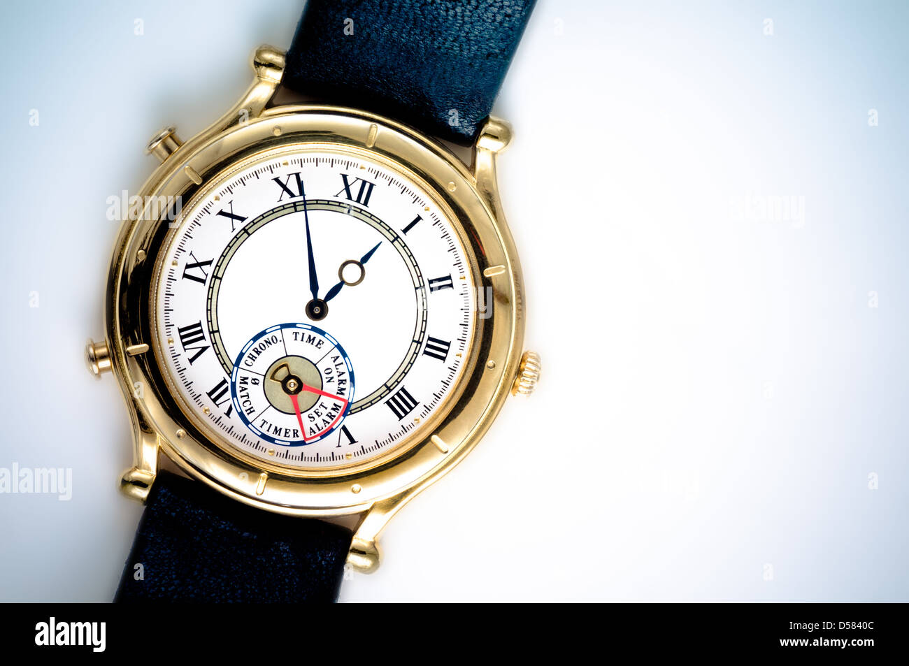 Analog wrist watch closeup - Stock Image