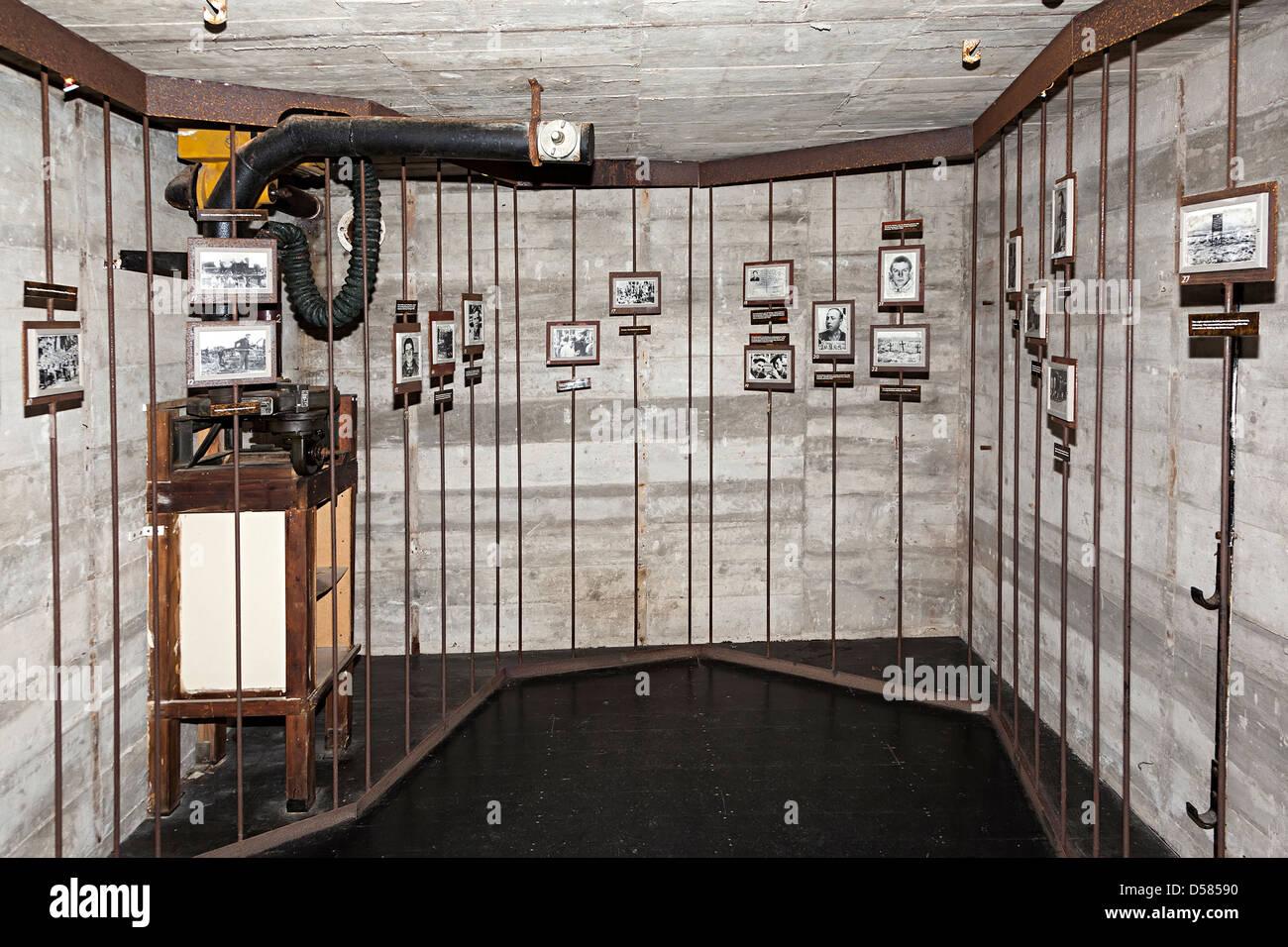 Memorial in the German command bunker at La Hougue Bie commemorating the islander prisoners, Jersey, Channel Islands, - Stock Image
