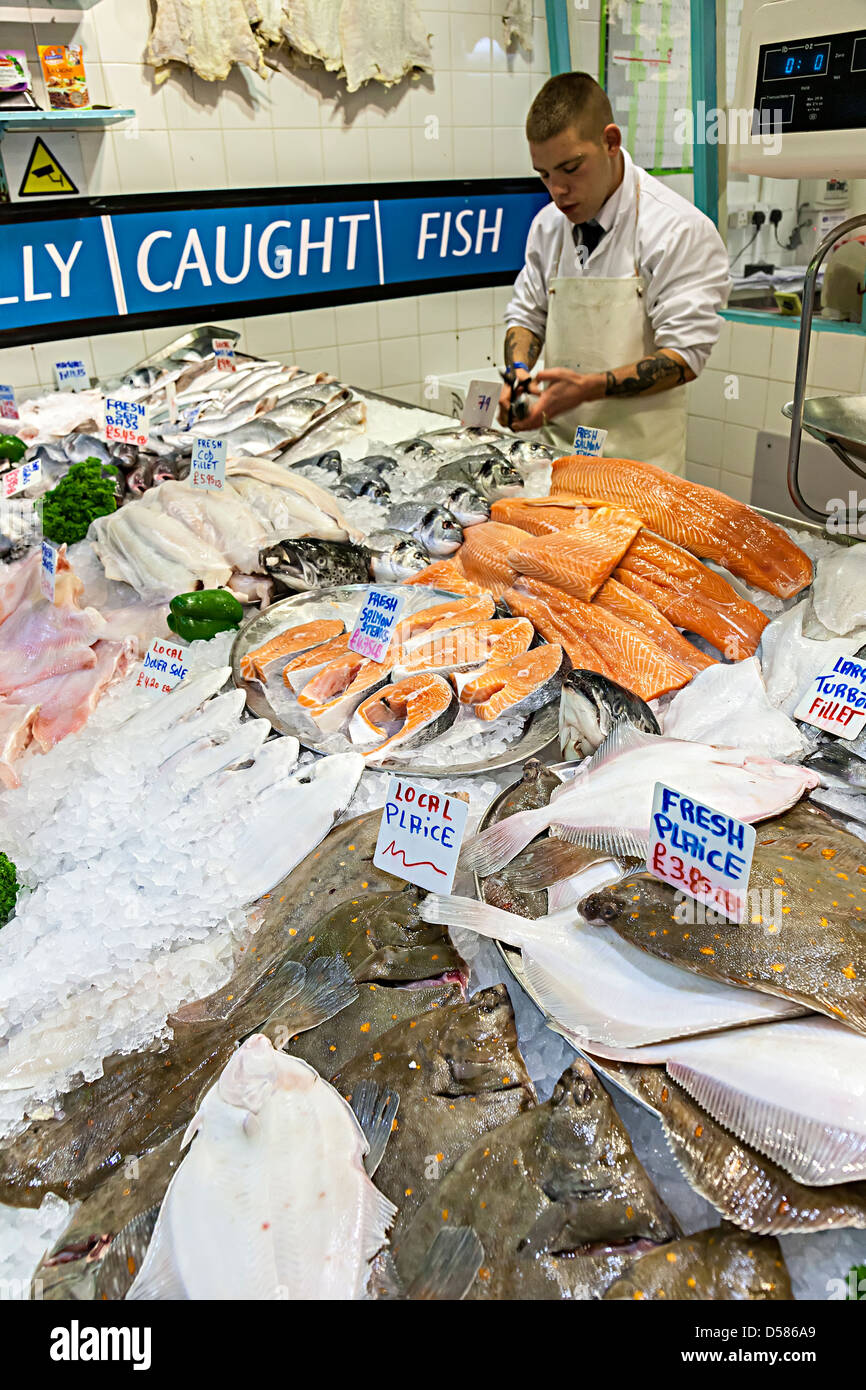 Fresh locally caught fish in market, St Helier, Jersey, Channel Islands, UK - Stock Image