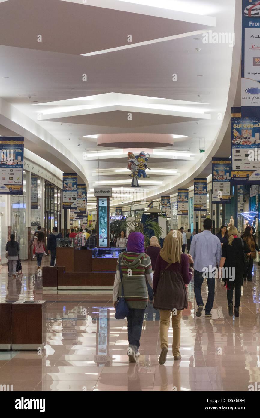 customers shopping, Mall of Arabia Cairo, Juhayna Square, 6th of October City, Giza, EGYPT - Stock Image