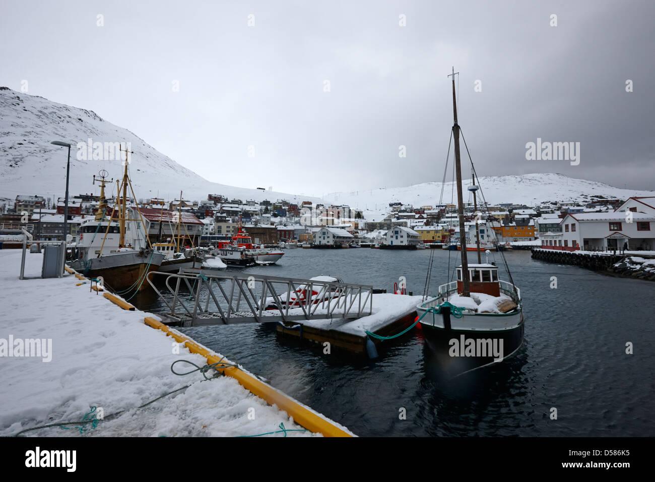 Honningsvag harbour finnmark norway europe - Stock Image