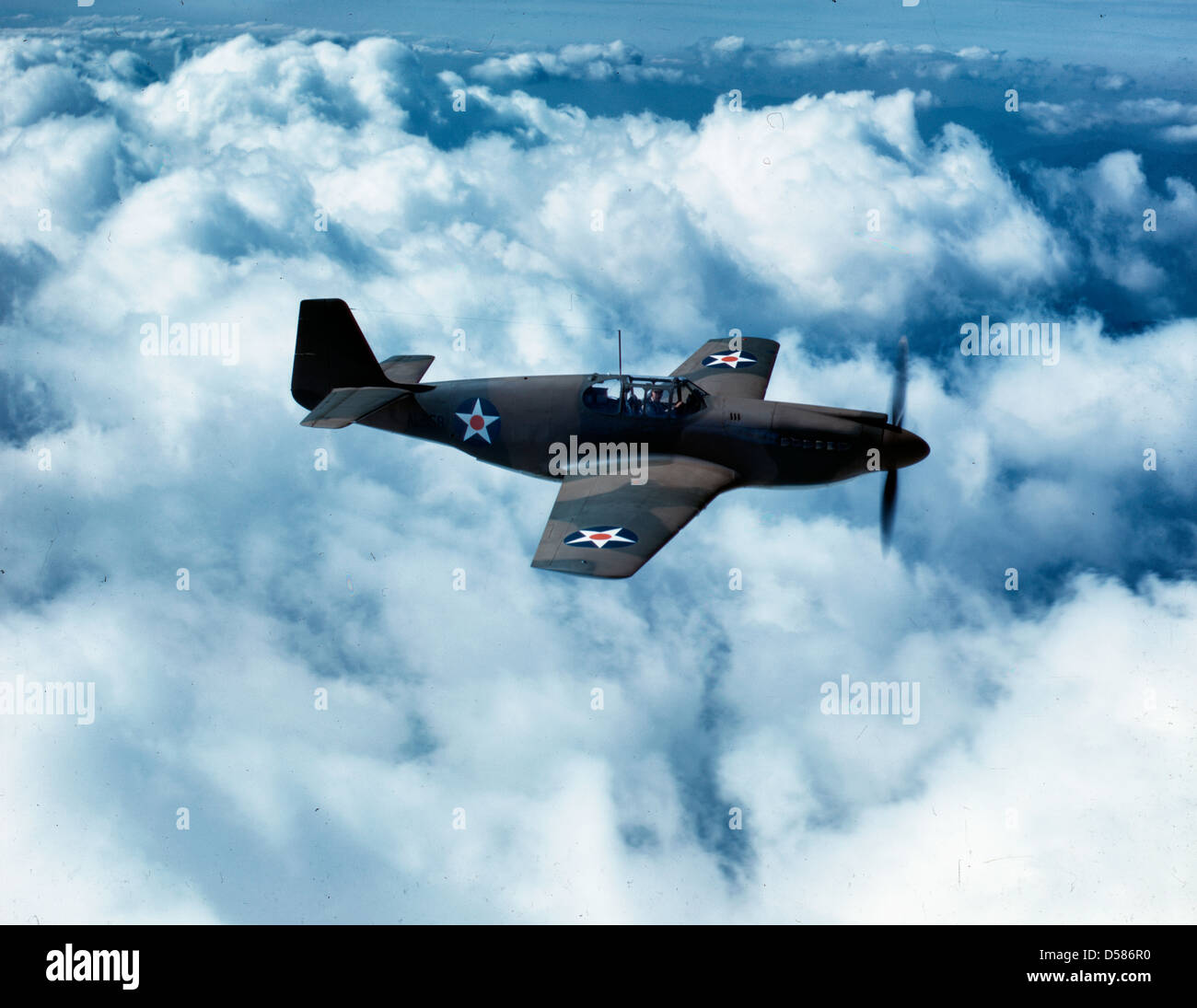 North American's P-51 Mustang Fighter is in service with Britain's Royal Air Force, P-51 flying, circa 1942 - Stock Image