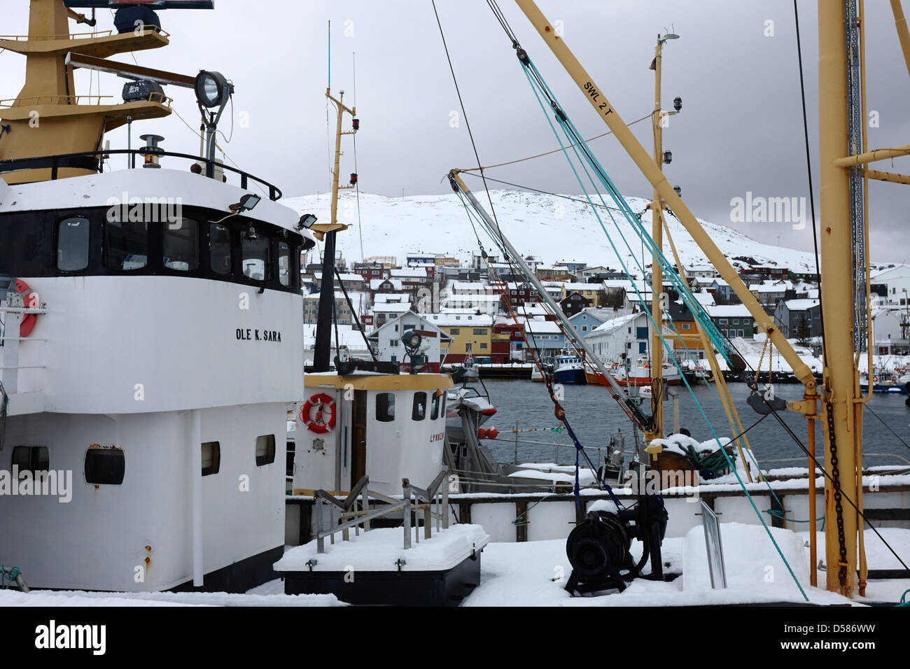 fishery school training boats in Honningsvag harbour finnmark norway europe - Stock Image