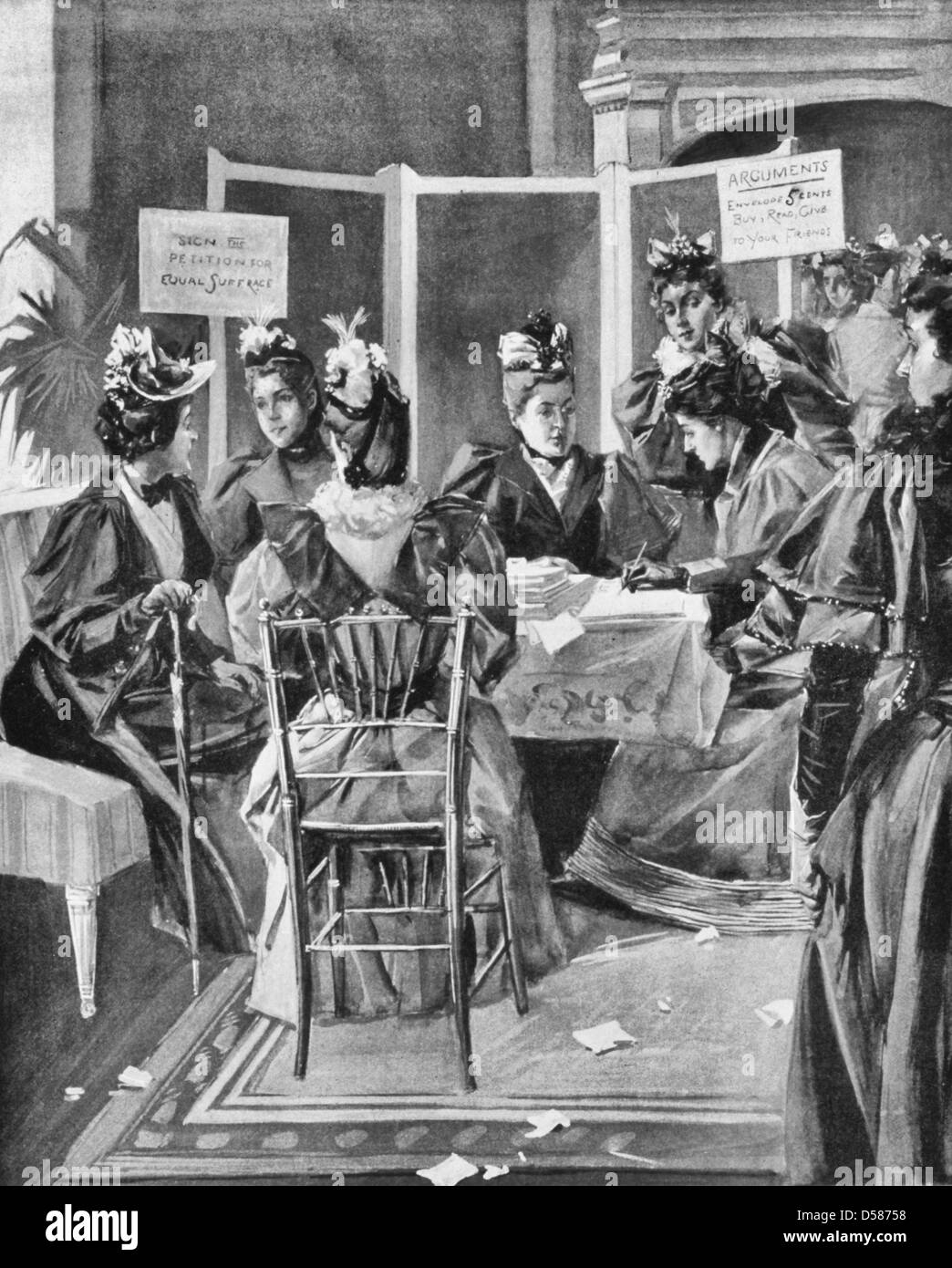 The woman suffrage movement in New York City society leaders securing signatures to petitions to be presented to - Stock Image