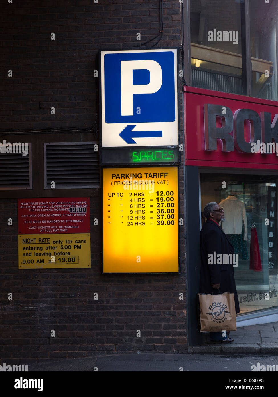 Entrance to National Car Parks in Covent Garden with price list tariff showing - Stock Image