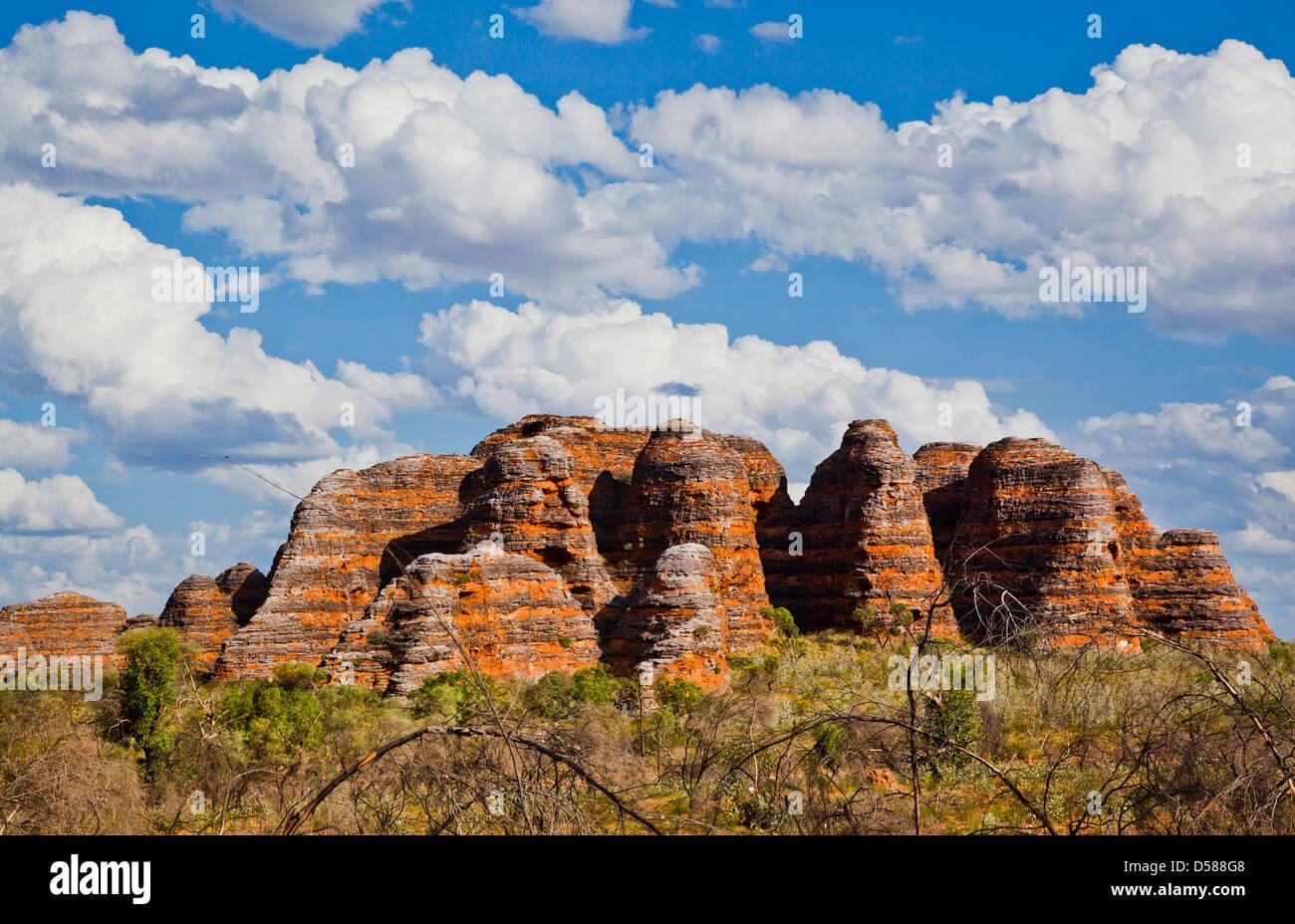 Bungle Bungle National Park, Purnululu, view of the characteristic beehive shaped sandstone domes, Western Australia - Stock Image