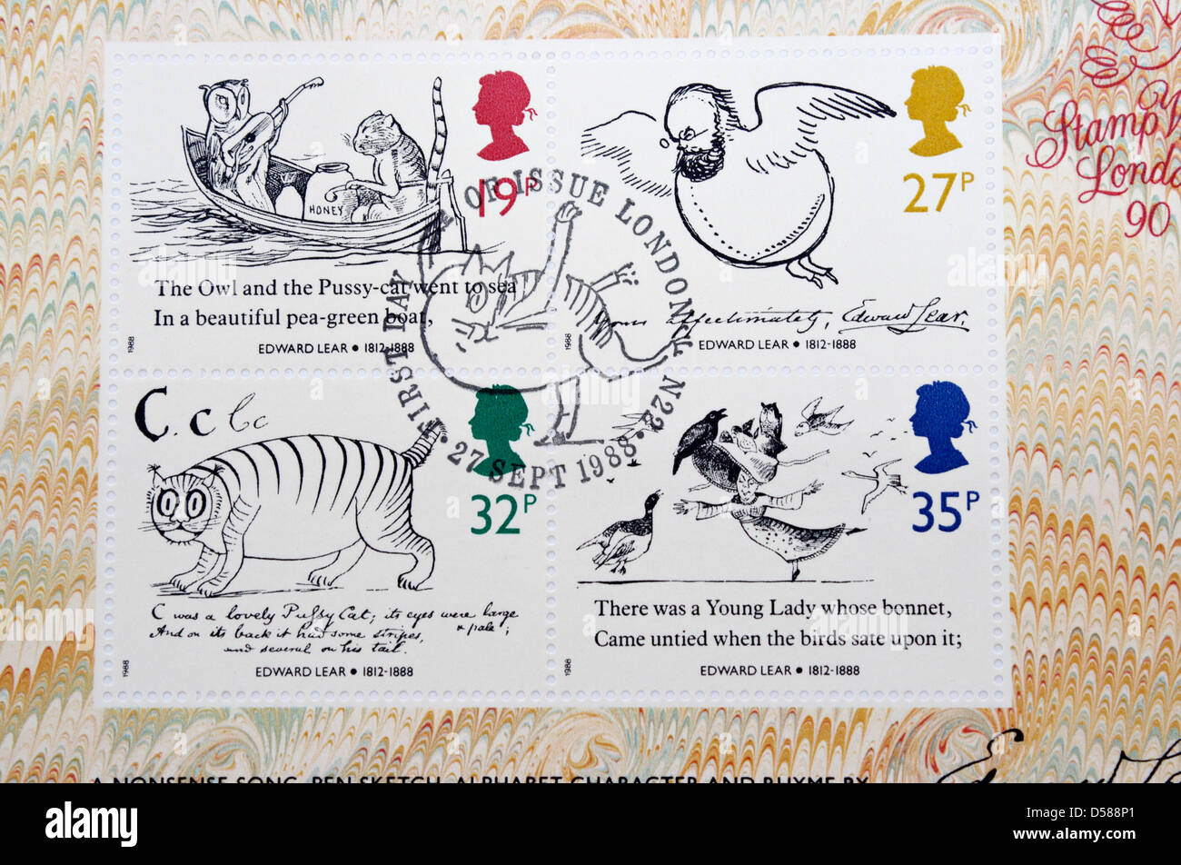 Set of stamps to commemorate the death year of Edward Lear - Stock Image