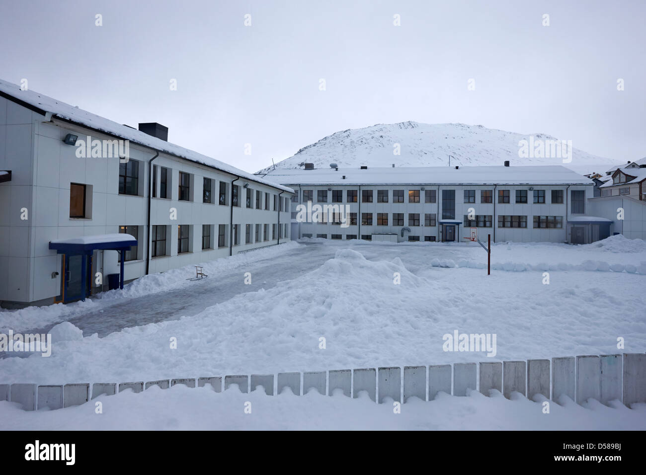 Honningsvag primary school finnmark norway europe - Stock Image