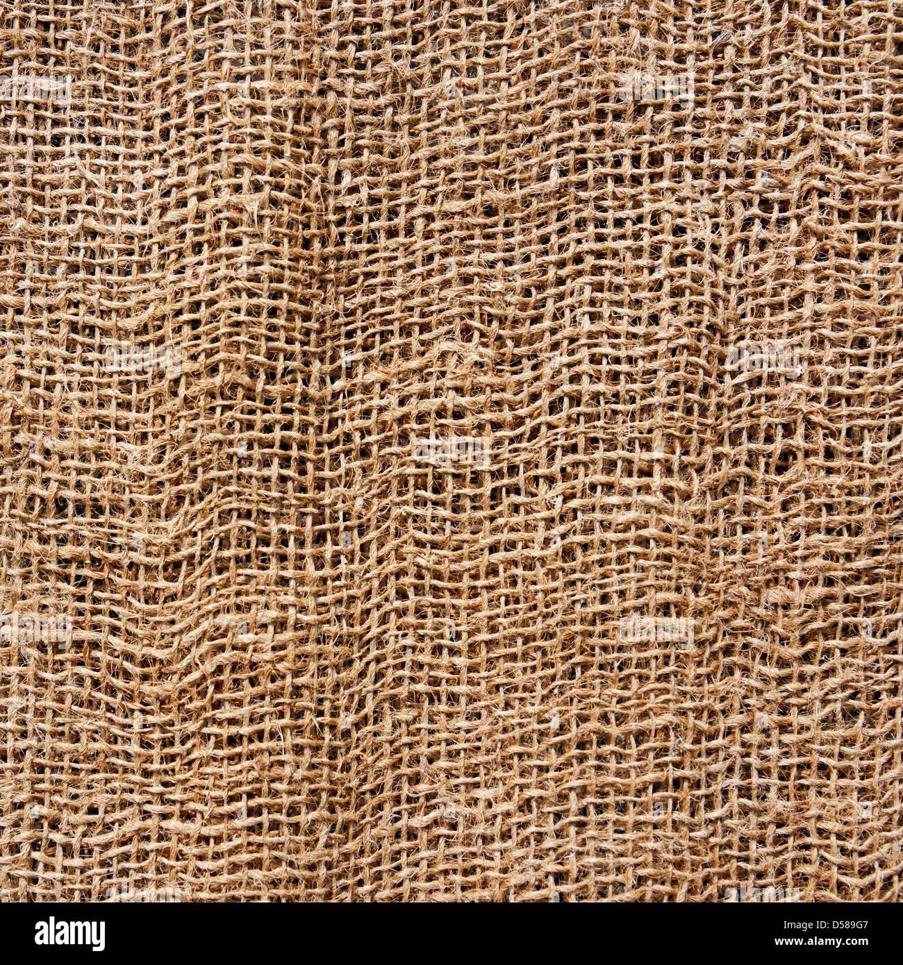 Hessian texture, square photograph - Stock Image