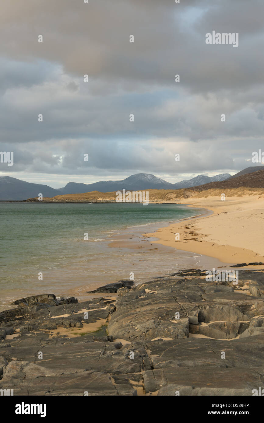 Looking towards the North Harris hills from Traigh Lar on the Isle of Harris. - Stock Image