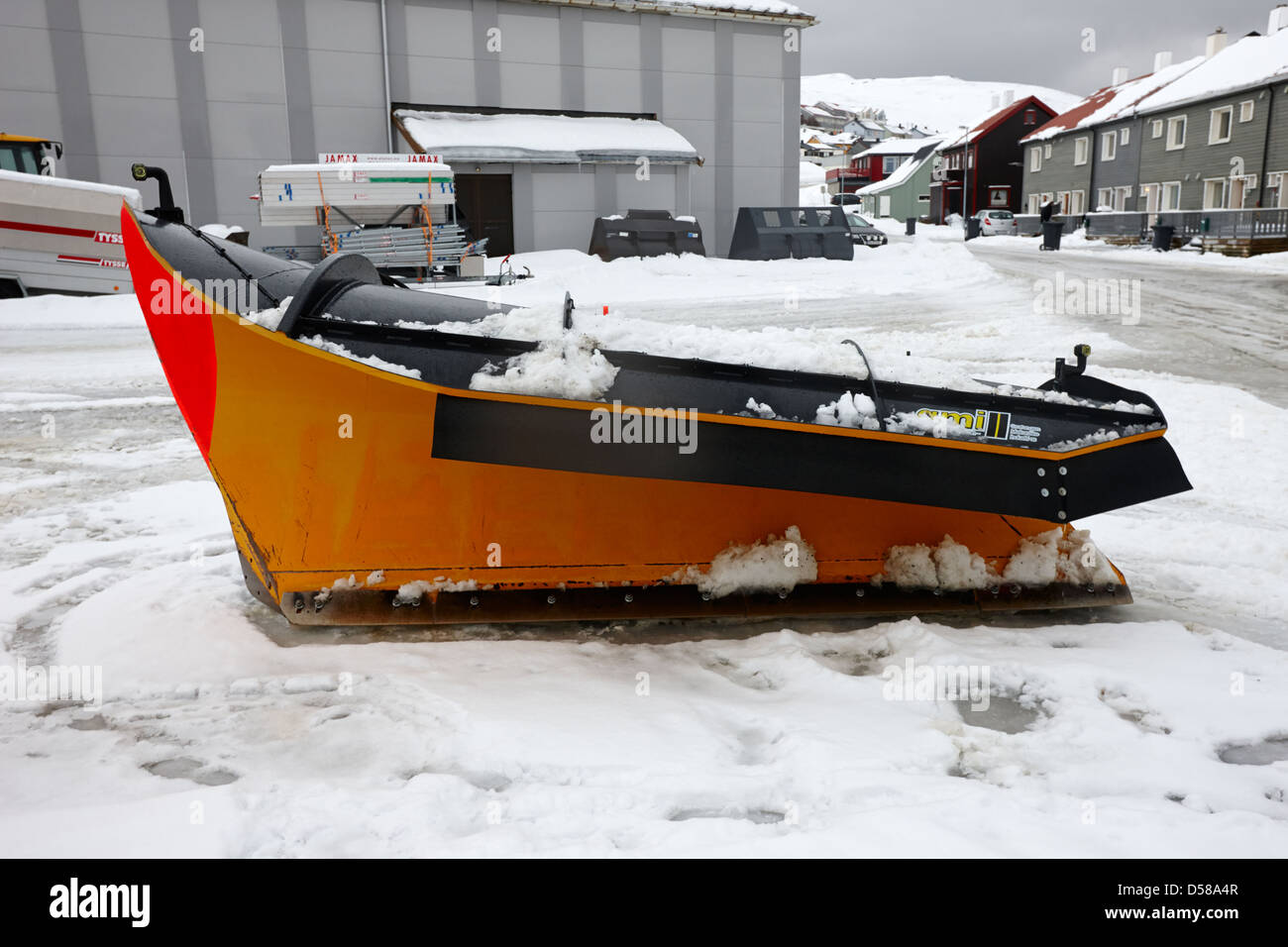 snowplough attachment for adapting trucks to road clearing vehicles Honningsvag finnmark norway europe - Stock Image