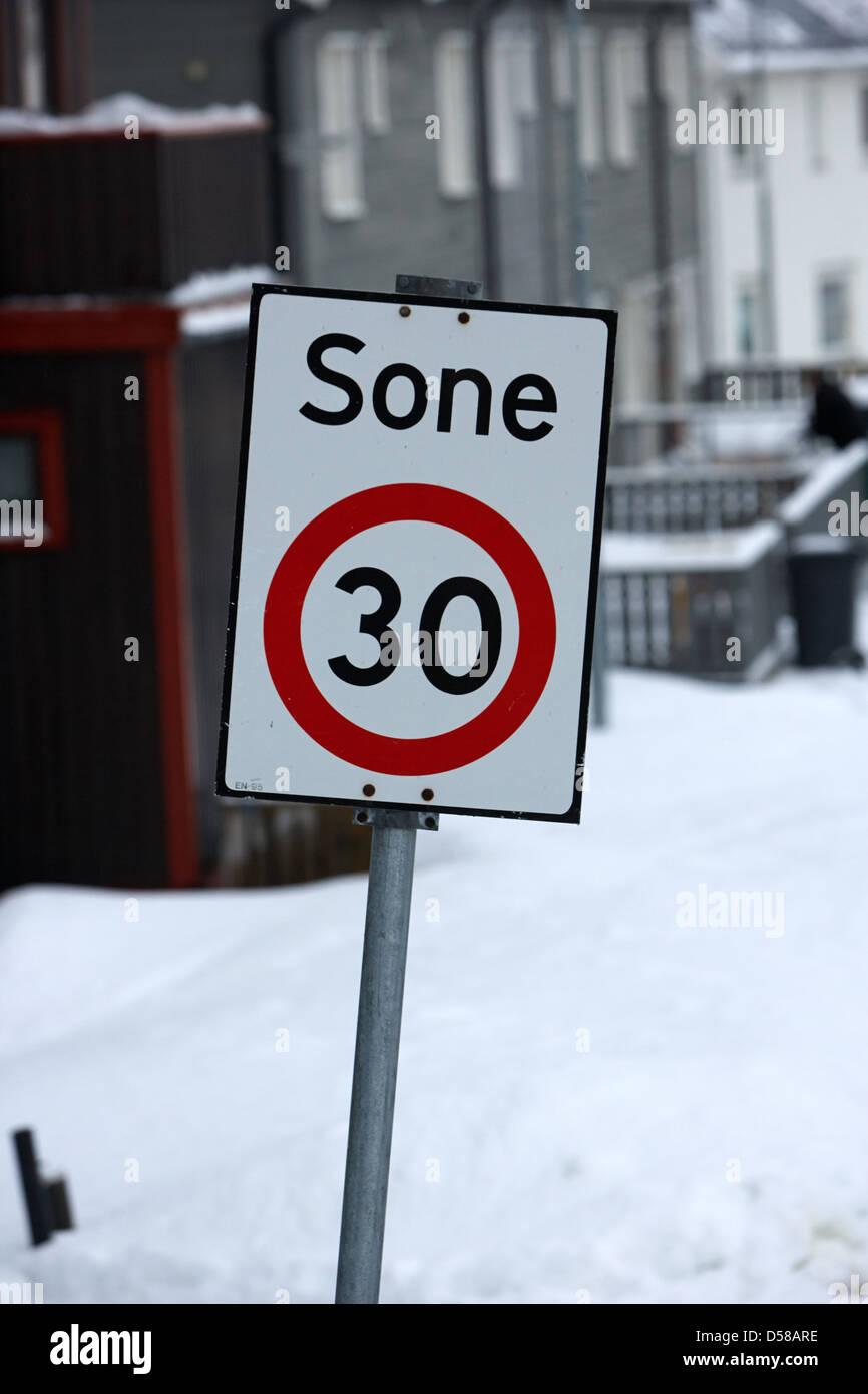 norwegian 30 kph sone zone residential low speed area honningsvag norway Stock Photo