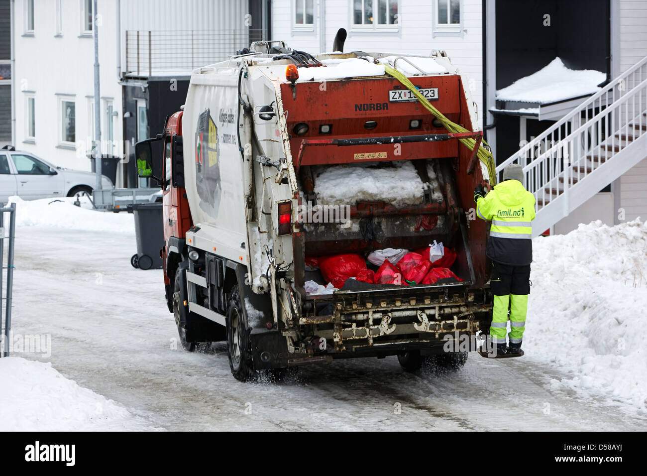 bin refuse collection rounds in winter Honningsvag finnmark norway europe - Stock Image
