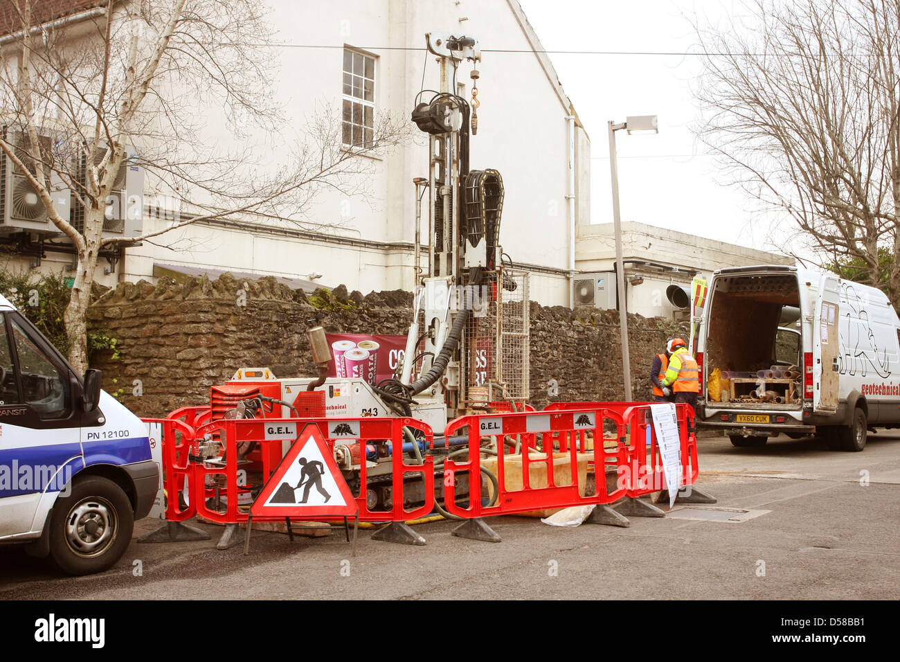 Drilling rig for geotechnical soil surveys, Wells, Somerset, March 2013 - Stock Image