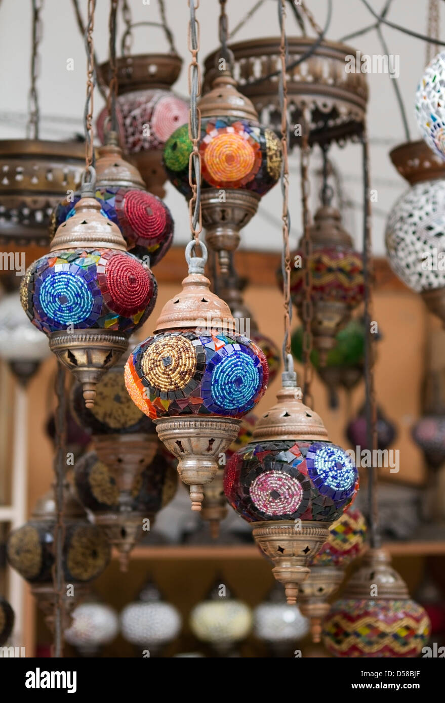 Turkish lamps stock photos turkish lamps stock images alamy turkish lamps chandelier for sale at the grand bazaar in istanbul turkey aloadofball Image collections