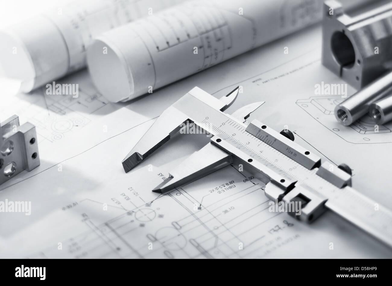 Mechanical engineering blueprint stock photos mechanical caliper and machine parts on mechanical blueprint stock image malvernweather Choice Image