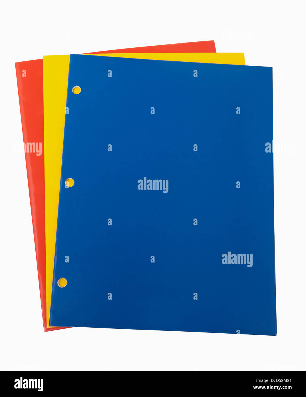Red Yellow and Blue School Folders, includes clipping path - Stock Image