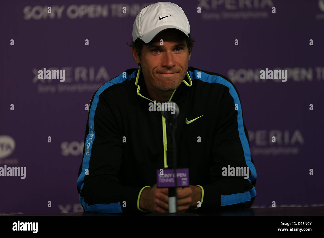 Miami, Florida, USA. 26th March 2013. Tommy Haas of Germany speaks at the press conference during day 9 of the Sony - Stock Image
