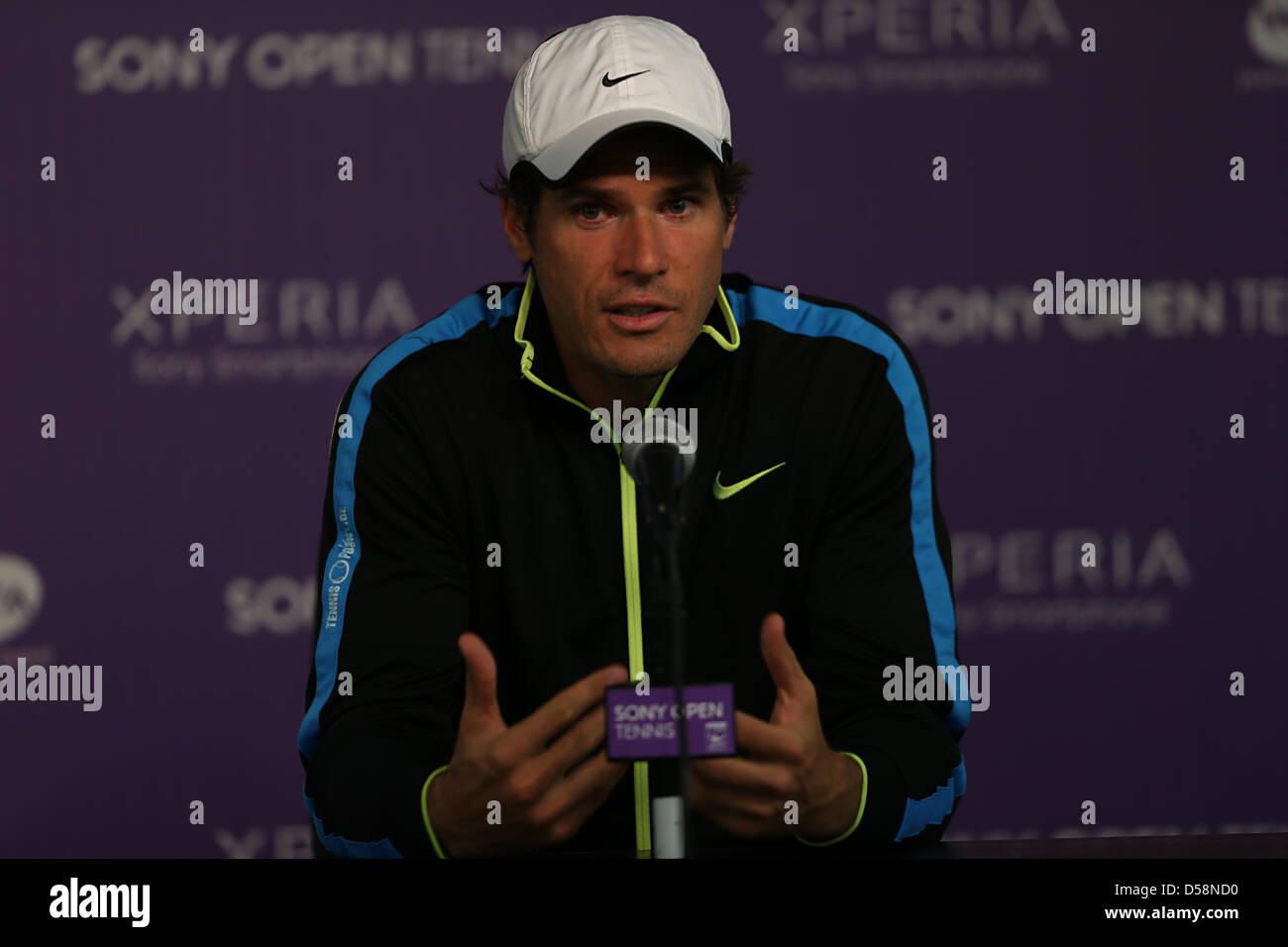 Miami, Florida, USA. 26th March 2013. Tommy Haas of Germany speaks during press conference of Day 9 after defeating - Stock Image