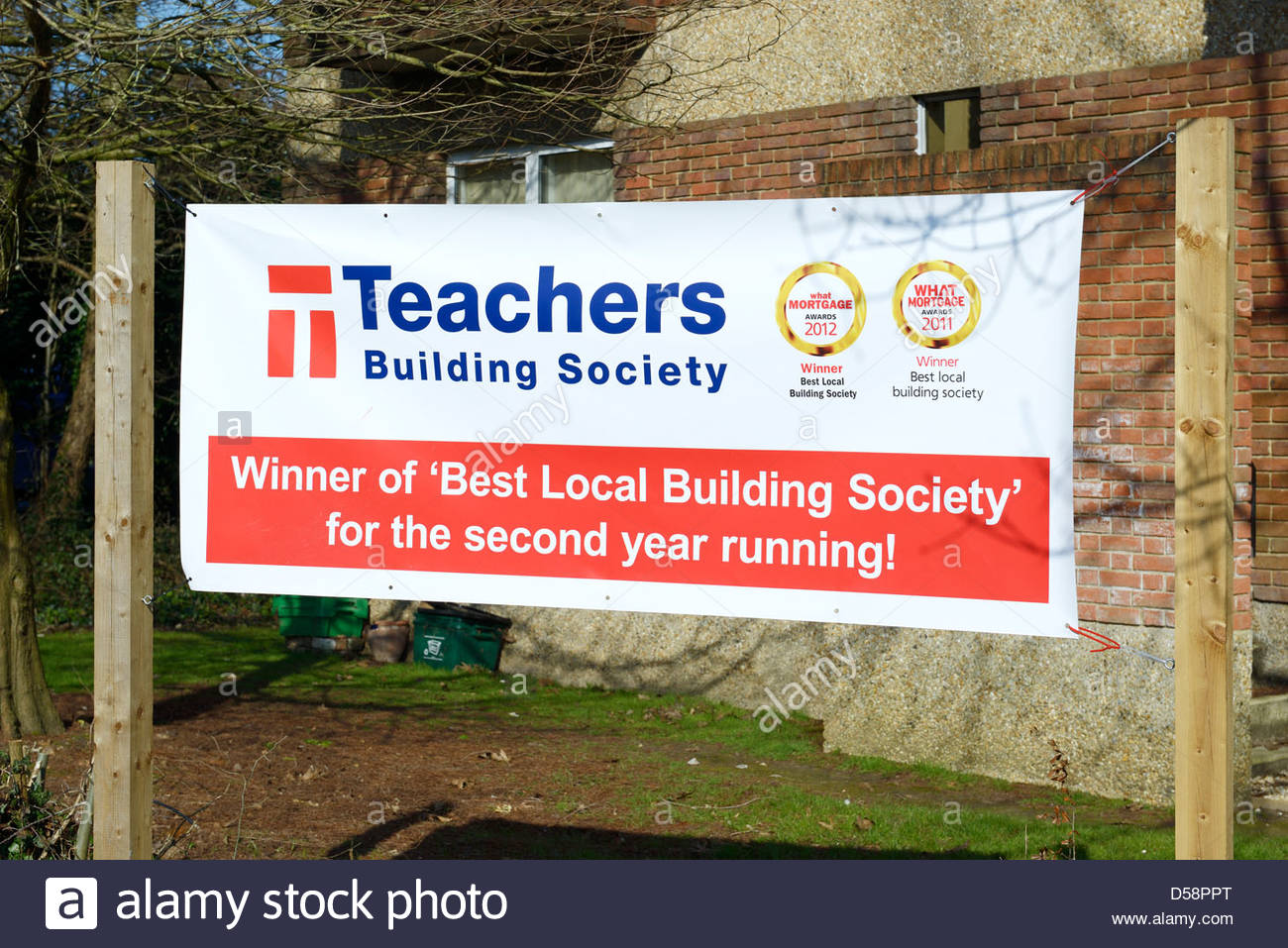 Teachers Building Society banner, Wimborne Minster, Dorset England - Stock Image
