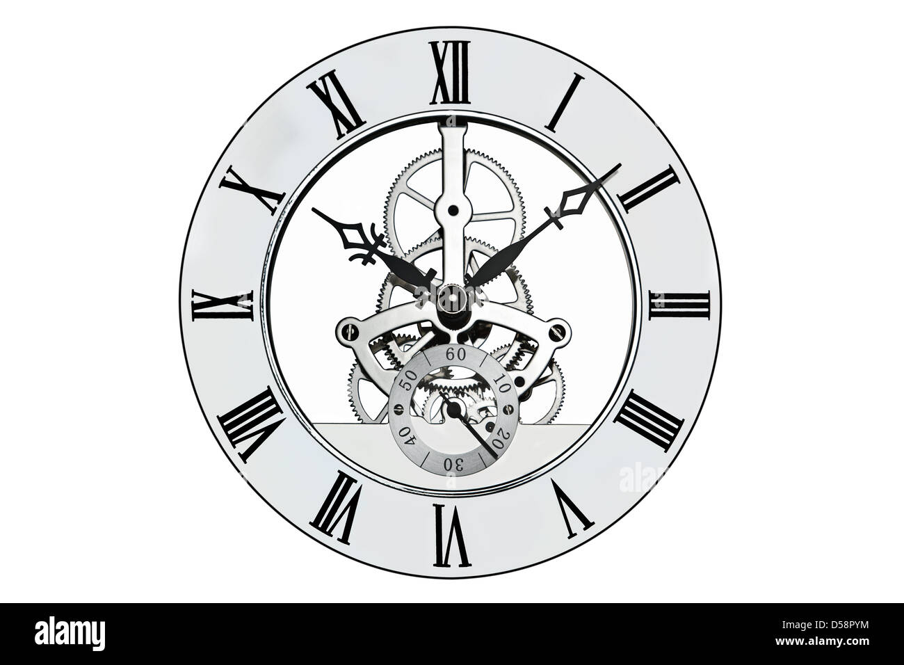 Skeleton clock with roman numerals isolated on a white background. Clipping path provided for the outer face. - Stock Image