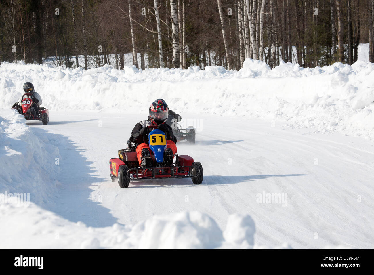 Go Kart Driving On Icy Track Lappeenranta Finland Stock Photo