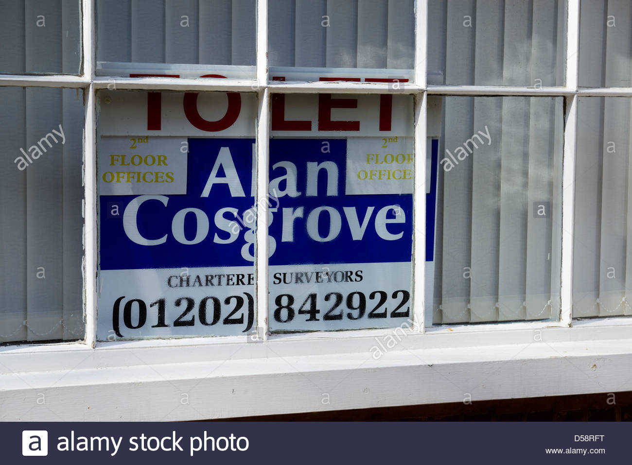 Office to let board in window, Wimborne, Dorset England - Stock Image