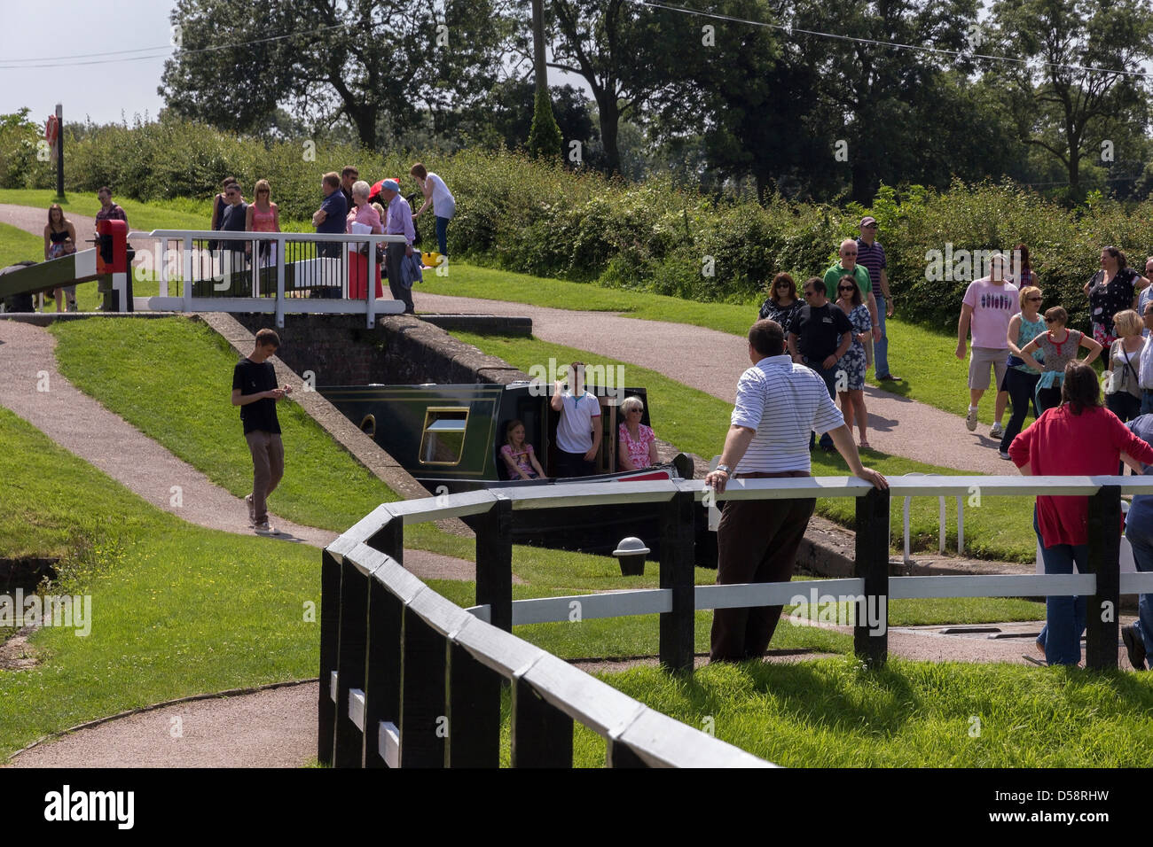 A busy day at Foxton Locks, Grand Union Canal, Market Harborough, Leicestershire, England, UK - Stock Image