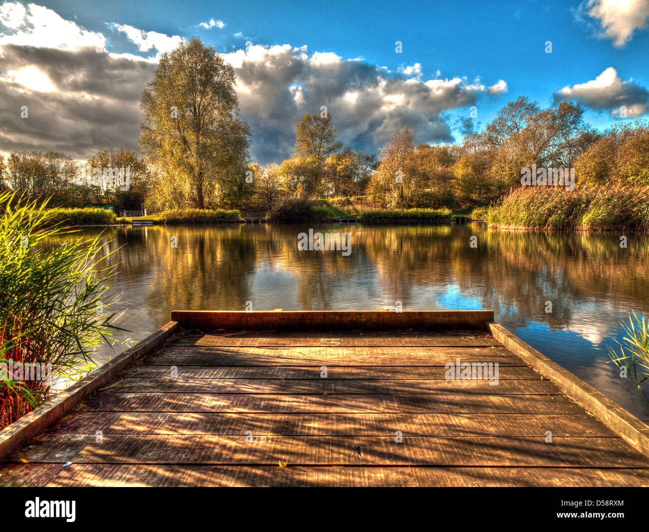 a fishing peg at a local pond - Stock Image