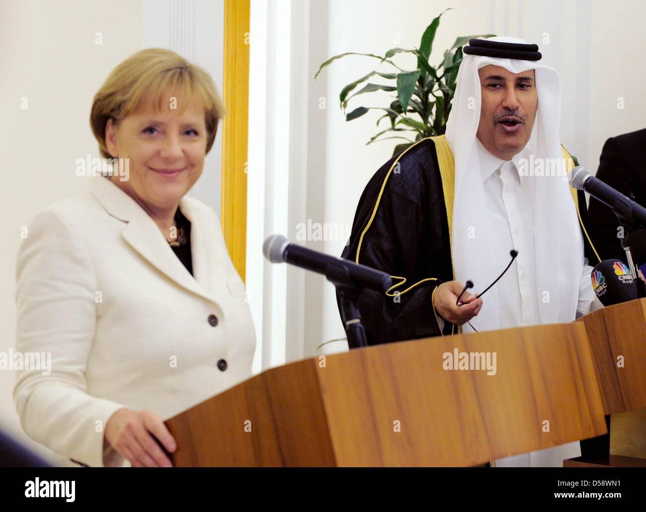 Bundeskanzlerin Angela Merkel (CDU) und der Premierminister und Außenminister Scheich Hamad Bin Jasim Al Thani - Stock Image