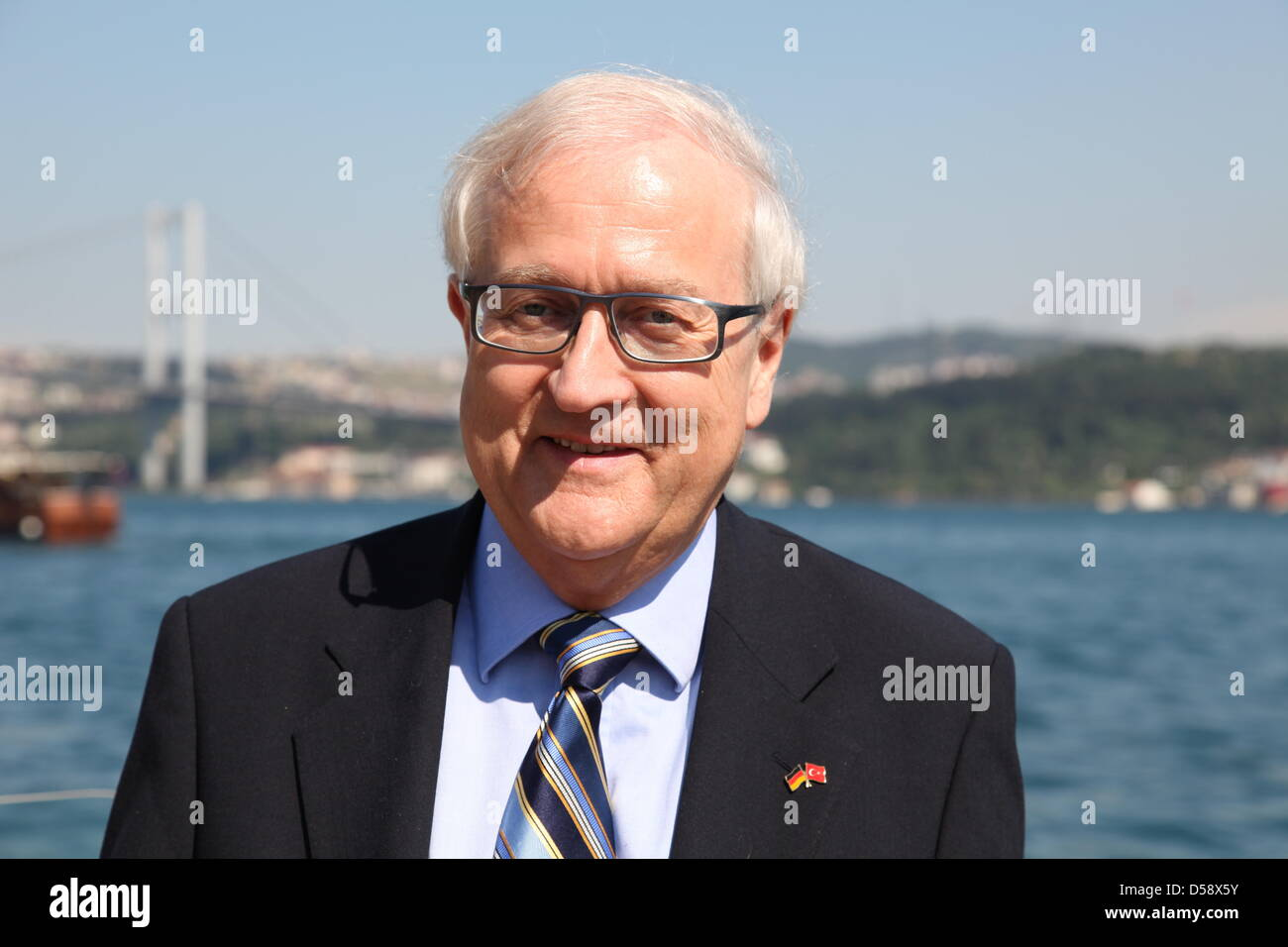 German Minister of Economy Rainer Bruederle smiles in Istanbul, Turkey, 27 May 2010. Mr Bruederle is on a two-day Stock Photo