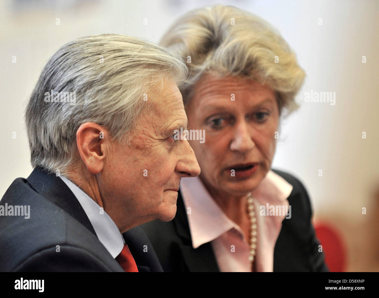 The President of the European Central Bank (ECB), Jean-Claude Trichet (L), and the Lord Mayor of Frankfurt Main, Stock Photo