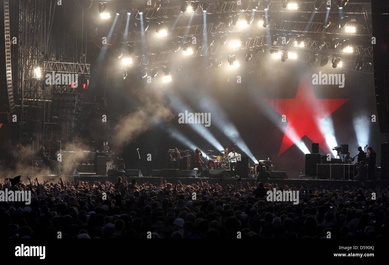 Die Rockband Rage against the machine tritt am Donnerstag (03.06.2010) in Nürnberg (Mittelfranken) beim Musikfestival Stock Photo
