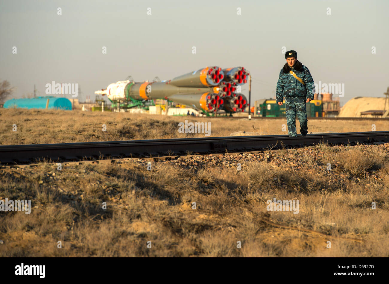 The Russian Space Agency Soyuz TMA-08M spacecraft is moved into position at the launch pad at the Baikonur Cosmodrome - Stock Image