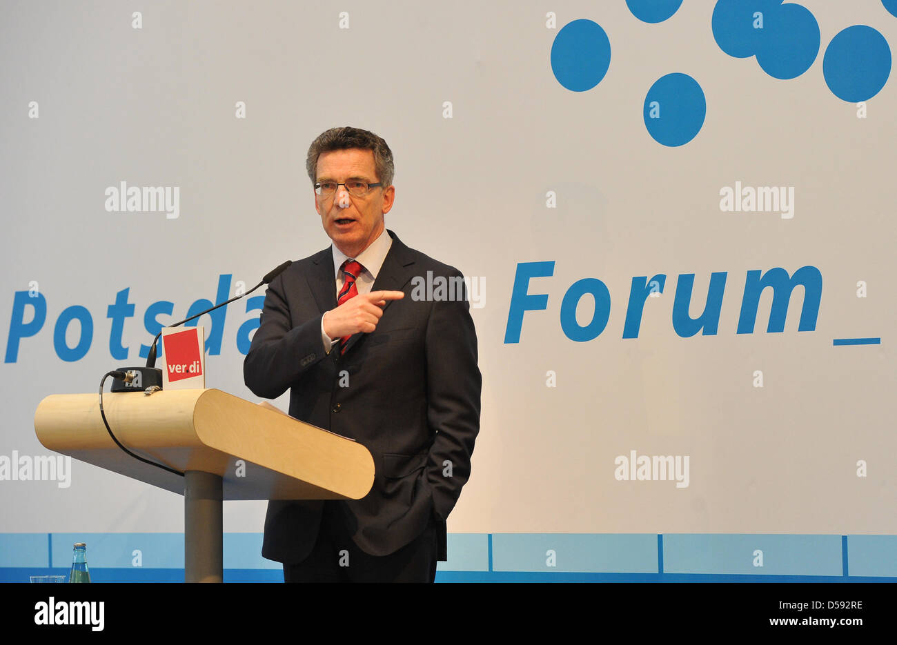 German Interiour Minister Thomas de Maizière speaks at the 8th Potsdam Forum for Executives in the public services - Stock Image