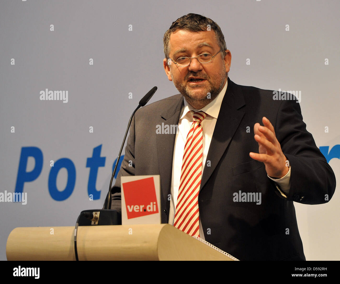 Brandenburg's Interiour Minister Rainer Speer speaks at the 8th Potsdam Forum for Executives in the public services - Stock Image