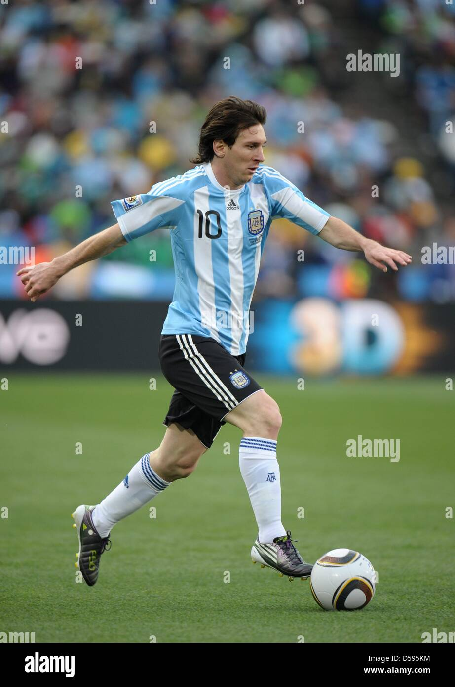 1e9d39da2 Lionel Messi of Argentina controls the ball during the FIFA World Cup group  B soccer match between Argentina and Nigeria at Ellis Park Stadium in ...