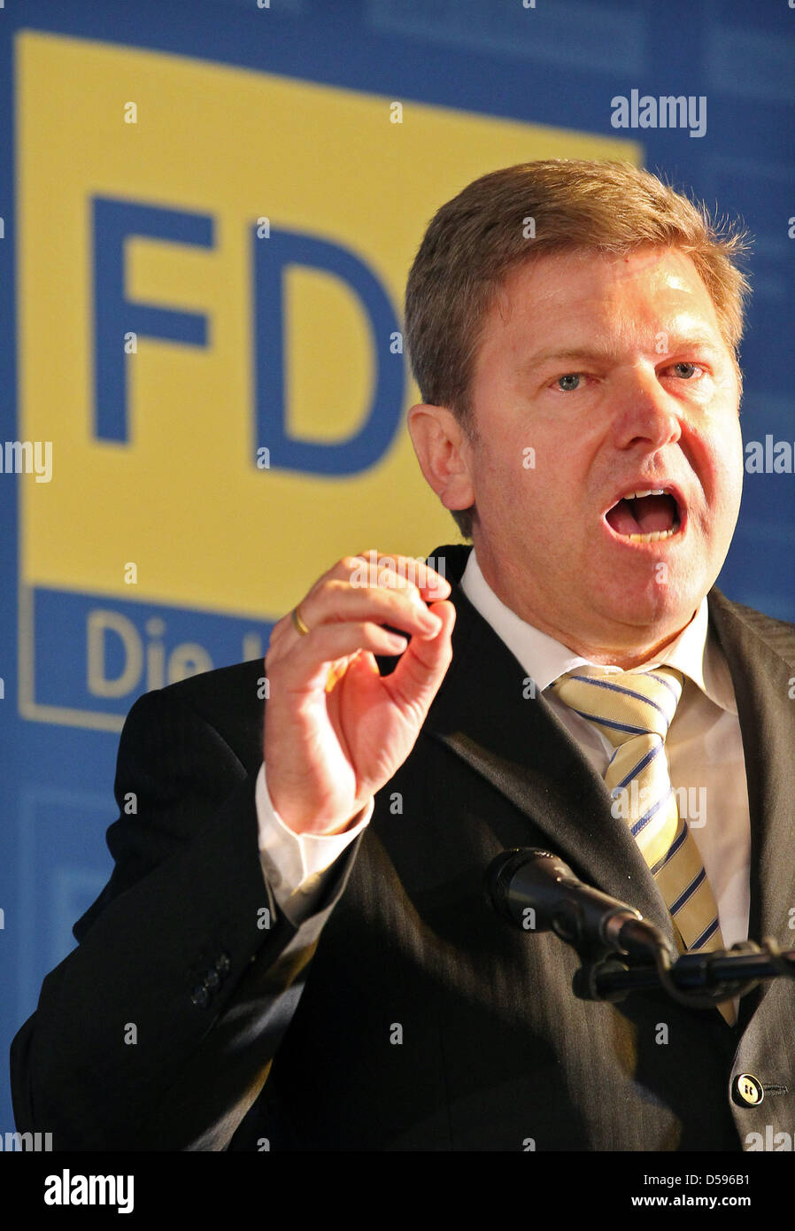 Whip at Saxony-Anhalt's FDP, Veit Wolpert, talks at the state delegates meeting of the Saxony-Anhalt FDP in Zerbst, Stock Photo